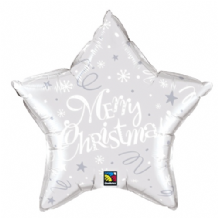 "Christmas Foil Balloon - Christmas Silver Star (20"") 1pc"